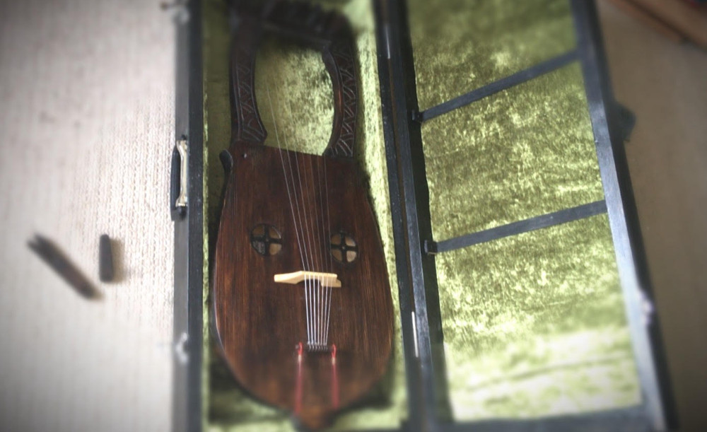 lyre in green lined case